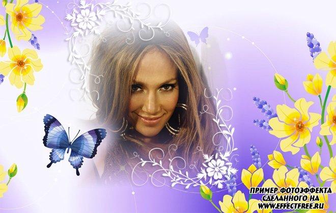 Нежный фотоколлаж с желтыми цветами и бабочкой для женщин, вставить фото онлайн