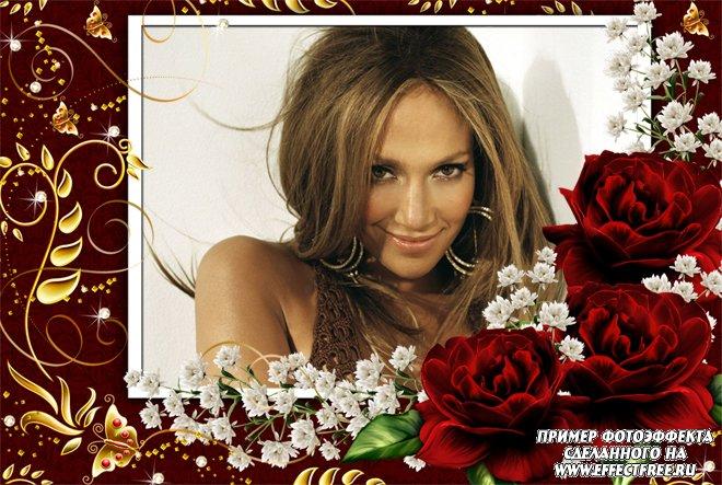 Рамка в обрамлении красных роз и с золотыми узорами, вставить фото онлайн