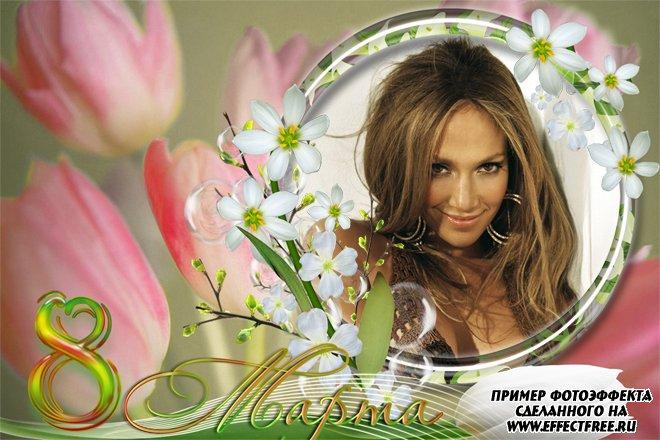 Рамка на 8 марта с весенними тюльпанами, сделать в онлайн редакторе