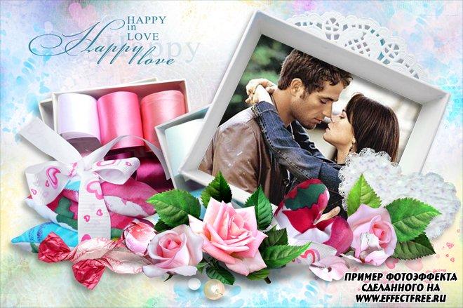 Рамка для влюбленных с красивыми цветами, сделать онлайн фотошоп
