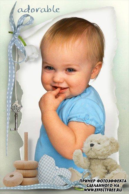 Фоторамка с детскими игрушками для малышей, вставить фотов рамку онлайн