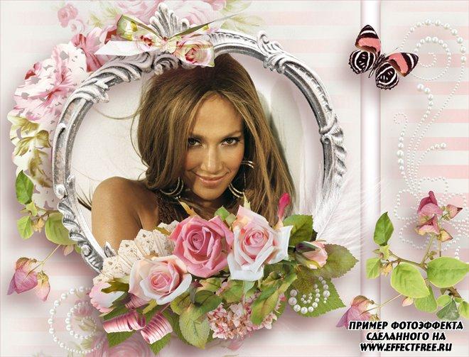 Рамка для фото в пастельных тонах с букетом роз, вставить фото онлайн
