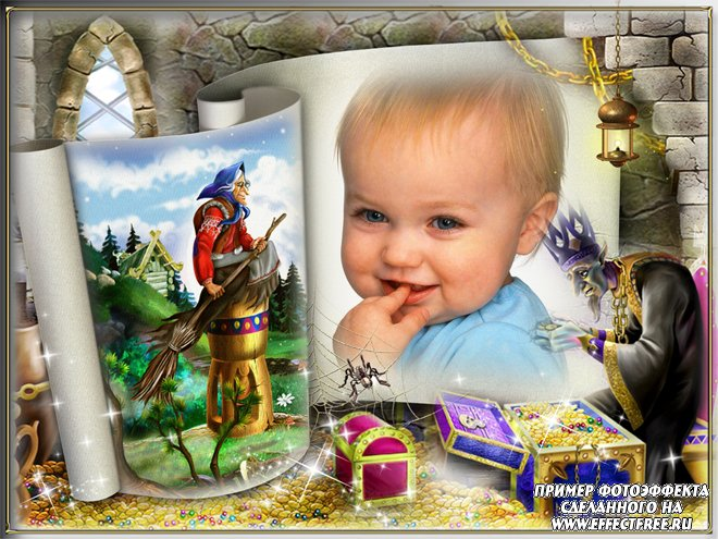 Детская рамочка для фото с героями русских сказок, сделать в онлайн фотошопе