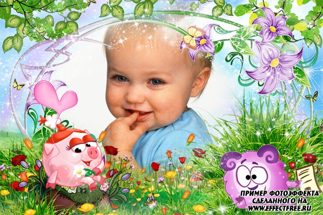 Детская фоторамка со смешариками Нюшей и Барашем, сделать в онлайн фотошопе