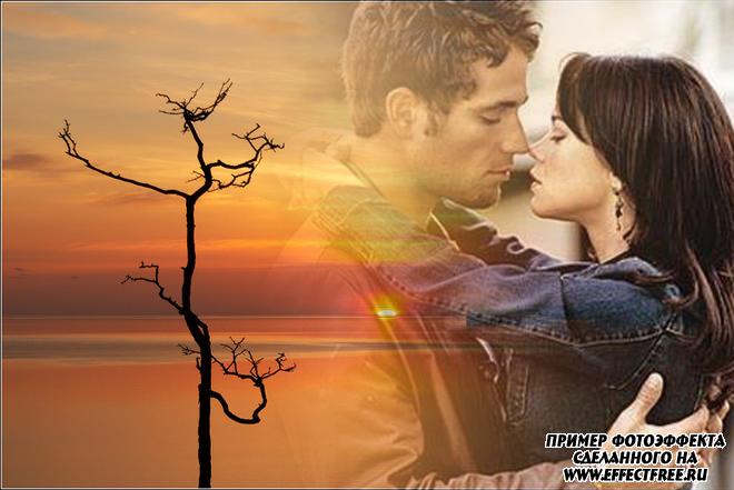 Новый романтический фотоэффект на фоне заката, сделать онлайн