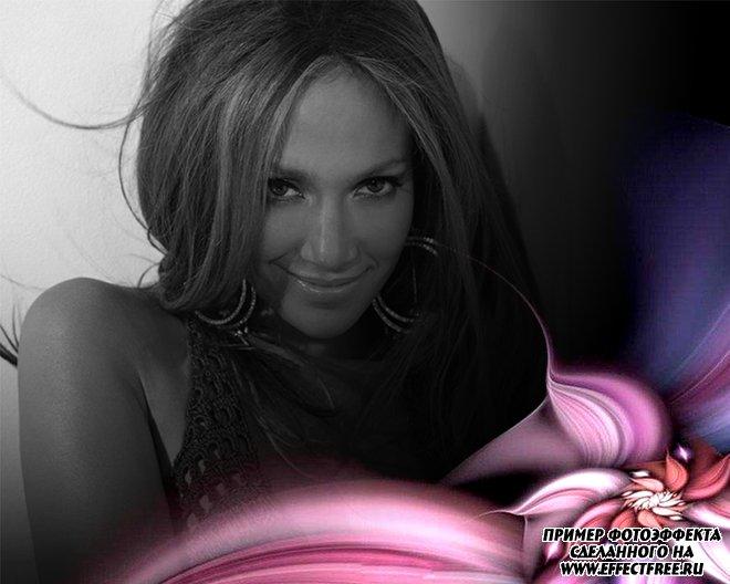 Интересный фотоэффект с черно-белой фотографией и розовым цветком, сделать онлайн
