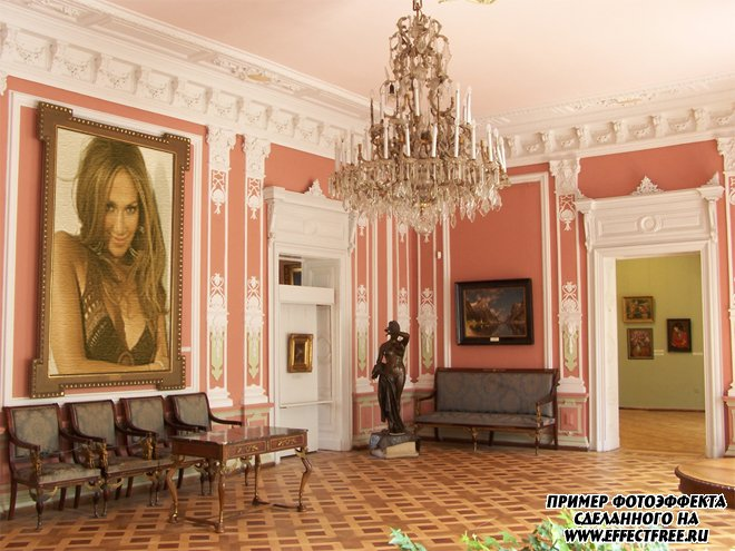 Новый фотоэффект в картинной галерее, сделать в онлайн редакторе