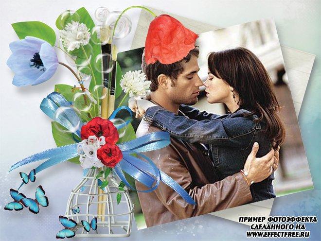 Фоторамка с вазой с цветами, вставить фото в рамку онлайн