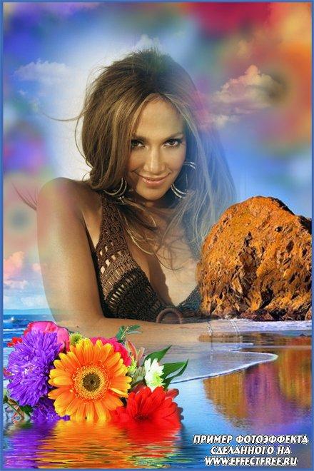 Красивая фоторамка с букетом цветов на воде, сделать онлайн