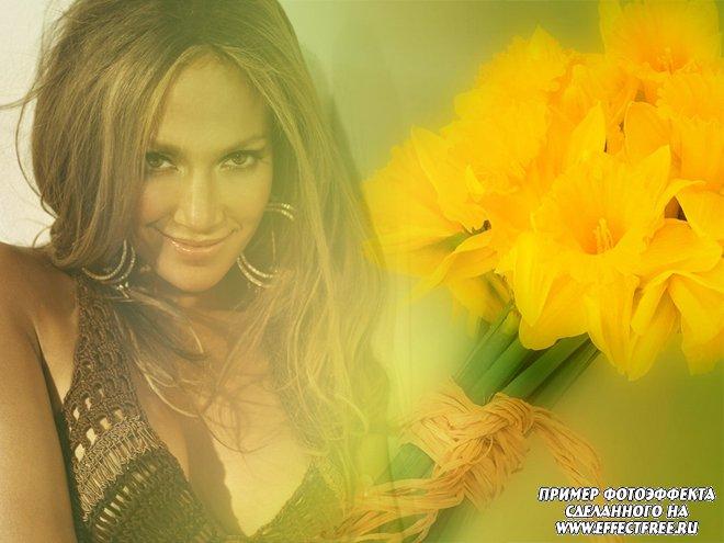 Женский фотоколлаж с желтыми тюльпанами, сделать онлайн