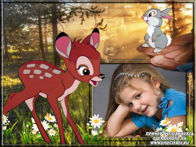 Детская фоторамка с олененком Бэмби, сделать онлайн