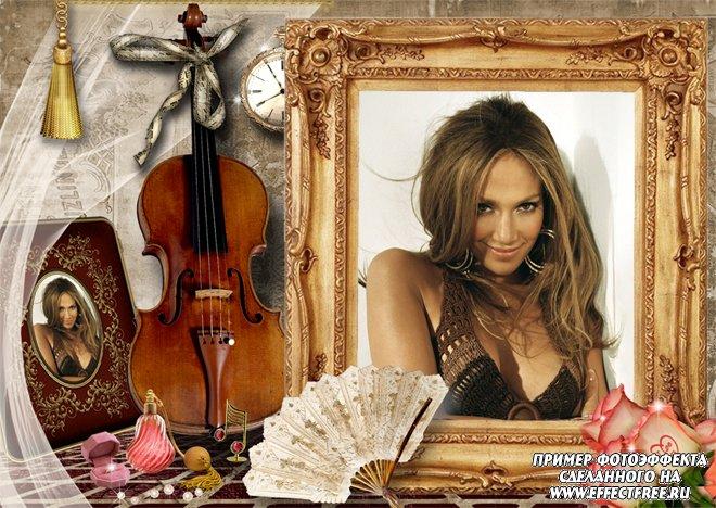 Фоторамка на 2 фото с виолончелью, сделать онлайн фотошоп