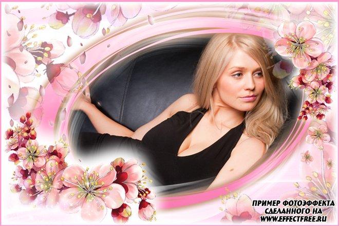 Рамка для фото с цветами в розовых тонах, сделать в онлайн фотошопе
