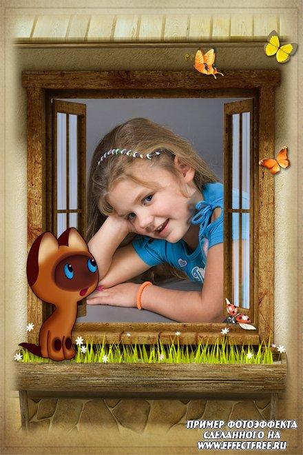 Рамка для детских фото в окне с котенком по имени Гав, сделать онлайн