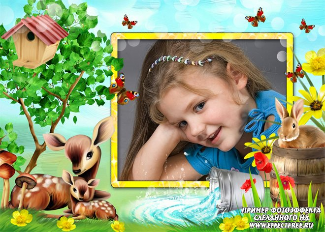 Детская фоторамка с маленькими оленями, сделать онлайн фотошоп