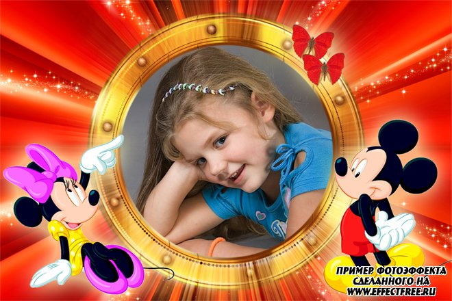 Детская яркая фоторамка с Микки и Минни Маусами, сделать онлайн фотошоп