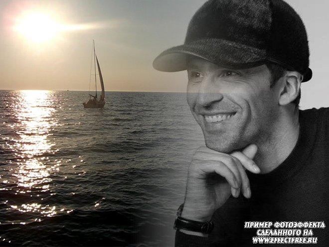 Фотоэффект на фоне моря с кораблем, вставить фото онлайн