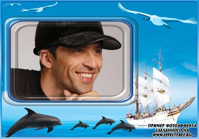 Рамка для фото с яхтой и дельфинами, вставить фото в рамку онлайн