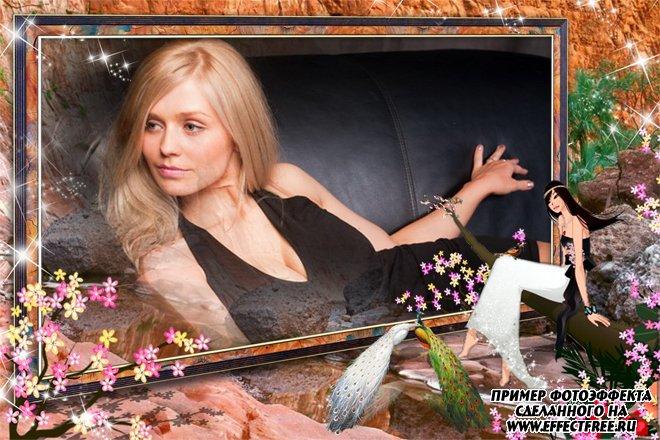Рамка для фото с прекрасными павлинами, сделать онлайн фотошоп