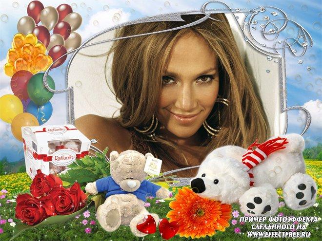 Рамка для фото с коробкой конфет Рафаэлло, вставить фото онлайн