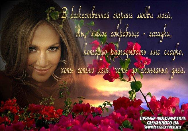 Романтический фотоколлаж со стихом о любви, сделать в онлайн редакторе