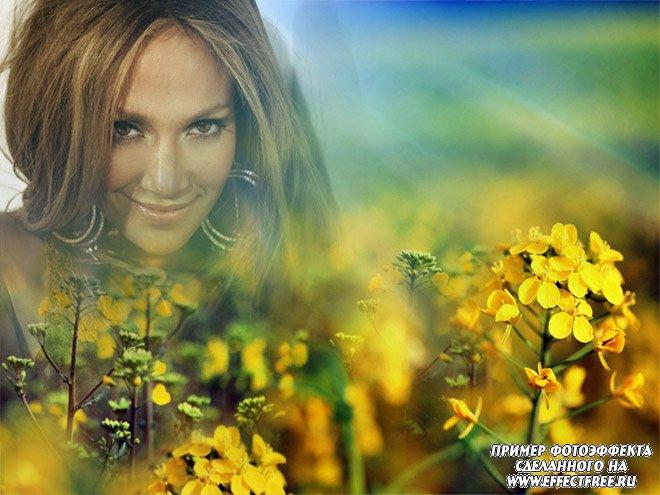 Красивое оформление фото на фоне ярких цветов онлайн