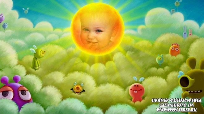 Яркий детский фотоэффект с мультяшными героями, вставить фото онлайн