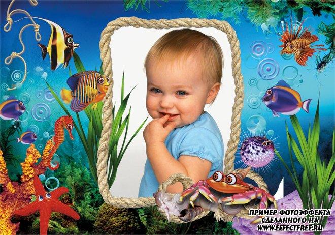 Яркая рамка для фото с морскими обитателями, сделать онлайн фотошоп