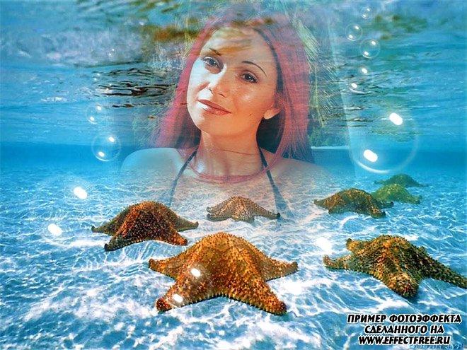 Фотоколлаж на морском дне с морскими звездами, вставить фото онлайн