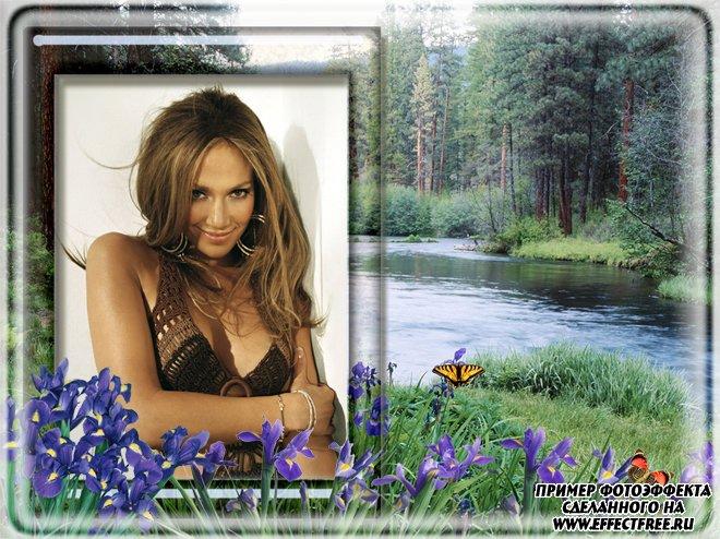 Фоторамка на фоне лесной речки, сделать в онлайн фотошопе
