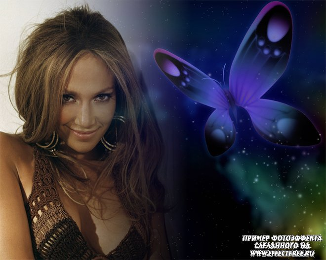 Красивый фотоэффект для женской фотографии с бабочкой на синем фоне, сделать онлайн