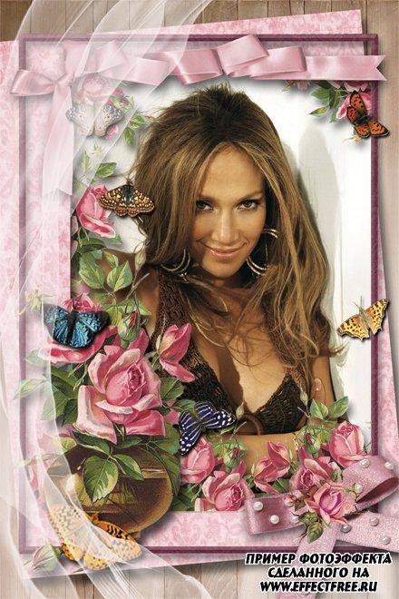 Нежные розы и бабочки для оформления Ваших фотографий онлайн, сделать в онлайн фотошопе