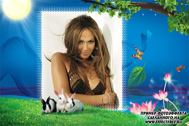 Рамка для фото с кроликами на лужайке, сделать в онлайн редакторе