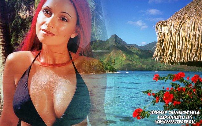 Красивый яркий фотоколлаж на фоне морского пейзажа с красными цветами, сделать онлайн