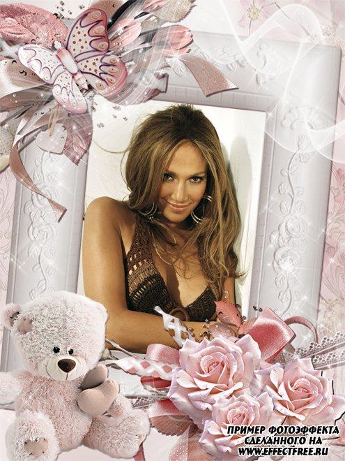 Рамочка влюбленным с плюшевым мишкой и розами, сделать в онлайн фотошопе