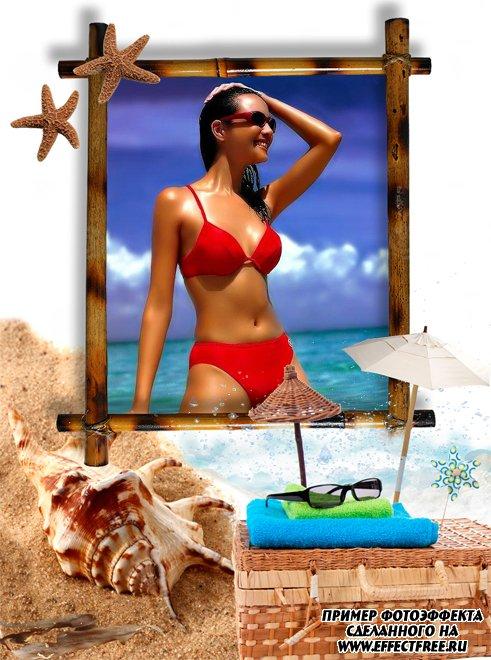 Рамка для фото на пляже с ракушками, вставить фотов рамку онлайн