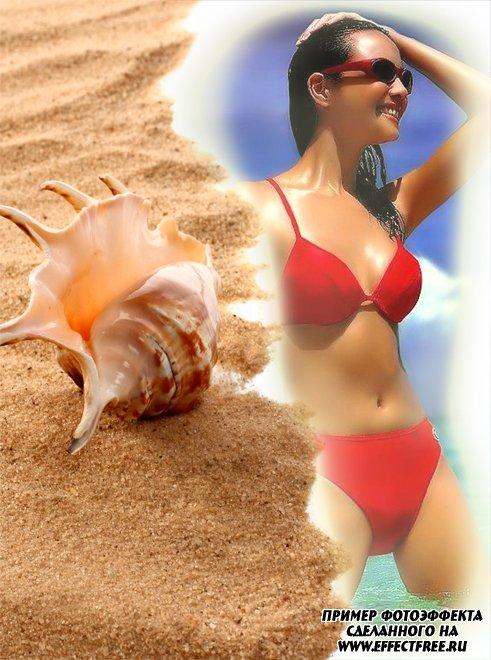 Рамка для фото с ракушкой на морском песке, сделать в онлайн фотошопе