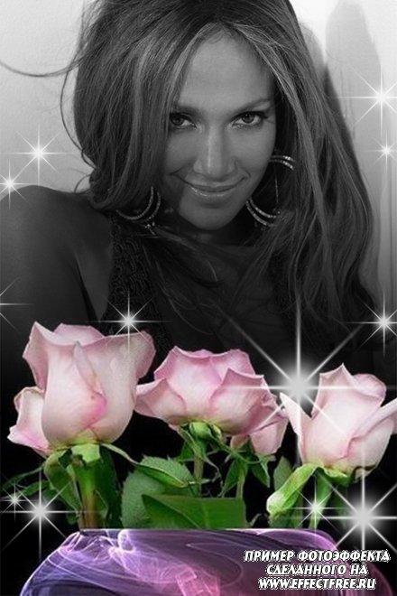 Красивый фотоэффект с розовыми розами и черно-белым фото, сделать онлайн