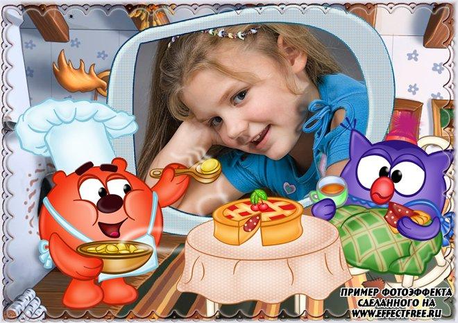Детская фоторамка со смешариками и тортом, сделать онлайн