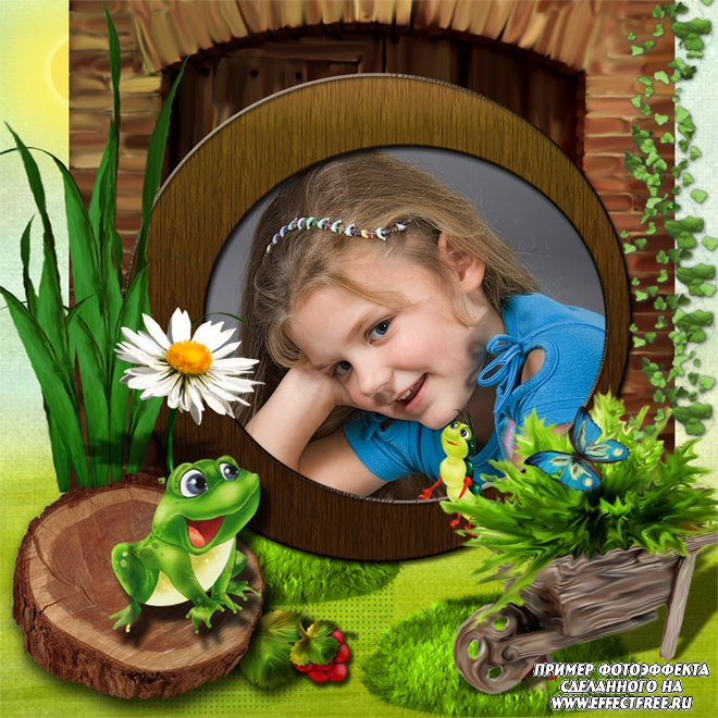Детская рамочка с веселой лягушкой, вставить фотов рамку онлайн