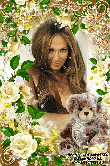Красивая рамочка с медвежонком, вставить фото в онлайн редакторе