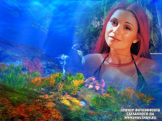Фотоэффект на фоне морских глубин с морскими обитателями, вставить фото онлайн