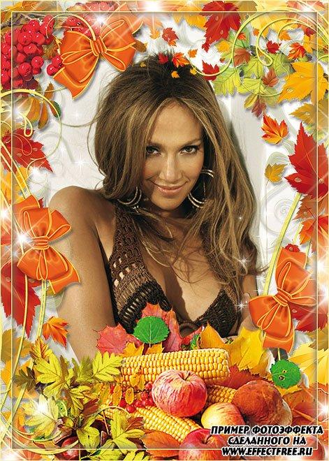 Красивая осенняя рамка с яблоками и листьями, сделать в онлайн редакторе