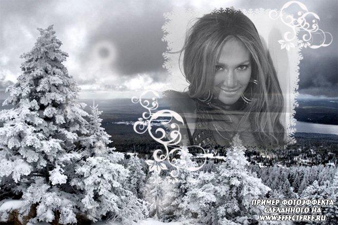 Зимний фотоэффект с черно-белым фото, сделать в онлайн редакторе