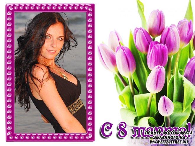Рамка с фиолетовыми тюльпанами, украсить к 8 марта фото онлайн