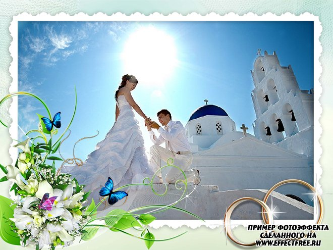 Нежная свадебная рамочка с кольцами онлайн